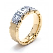 18K Two-tone Gold Diamond Mens Band