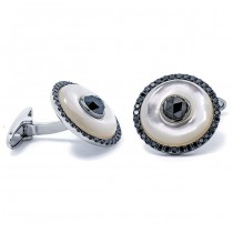 18K White Gold Mother Pearl Cufflinks