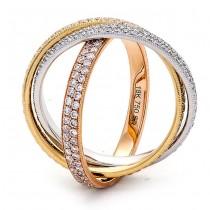 18K Tri-Color Gold Diamond Band