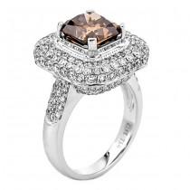 18K White Gold Brown Diamond Ring