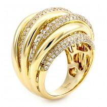 18K Yellow Gold and White Diamond Band