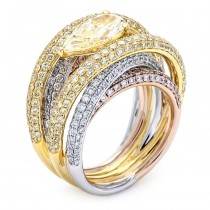 18K Tri-color Gold Yellow Diamond Band