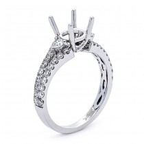 18K White Gold Semi-Mount for 1.00ct Round Center
