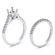 18K White Gold Semi-Mount Set  for a 0.5ct  Round Center
