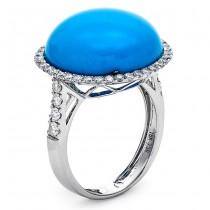 18K White Gold Turquoise Ring