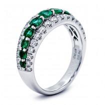 18K White Gold Emerald Band