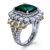 18K Two-tone Gold Emerald Band