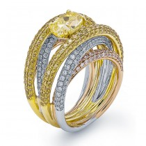 18K Tri-color Gold Diamond Band