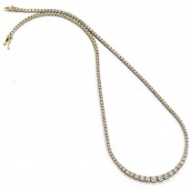 18K Yellow Gold Diamond Tennis Necklace