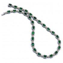 18K Two-tone Emerald Diamond Necklace