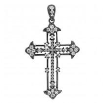 18K Black Rhodium Diamond Cross Pendant