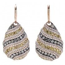 18K Rose Gold Yellow Diamond Earrings