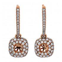 18K Rose Gold White Diamond Earrings