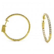 18K Yellow Gold Diamond Hoops