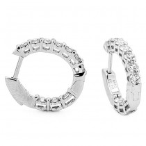 18K White Gold Diamond Huggies