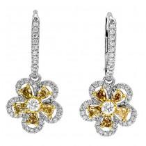 18K Two-tone Fancy Diamond Earrings