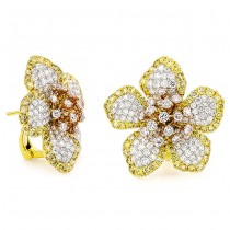 18K Tri-color Gold Pink Diamond Earrings