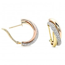 18K Tri-Color Gold Diamond Earrings