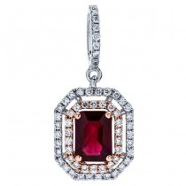18K Two-tone Gold Ruby Pendant