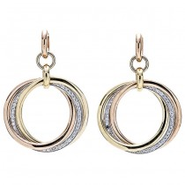 18K Tri-color Gold Dimound Earrings