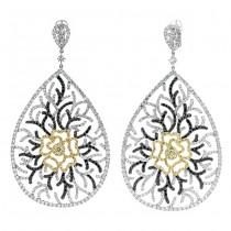 18K Two-tone Gold Yellow Diamond Earrings