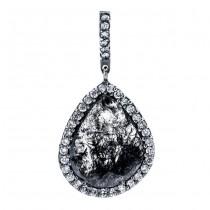 18K Black Rhodium Diamond Slice Pendant