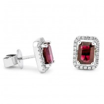 18K White Gold Ruby Studs
