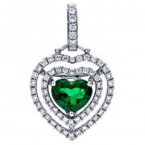 18K White Gold Emerald Heart Pendant