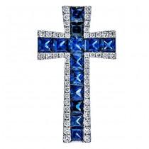 18K White Gold Sapphire Cross Pendant