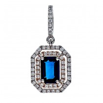 18K Two-tone Gold Sapphire Pendant