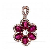 18K Rose Gold Ruby Pendant