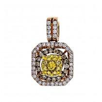 18K Two-tone Gold Yellow Diamond Pendant