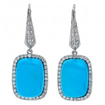 18K White Gold Turquoise Earrings