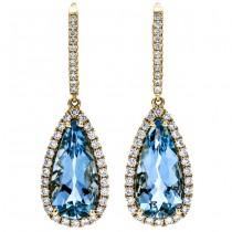 18K Yellow Gold Aquamarine Earrings