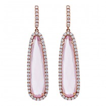 18K Rose Quartz Diamonds Earrings