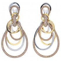18K Tri-Color Gold Earrings