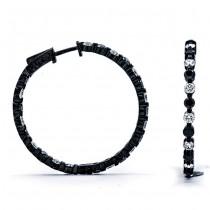 18K Black Rhodium Black Diamond Hoops