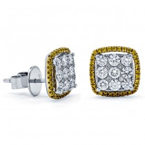 18K Two-tone Gold Yellow Studs