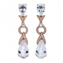 18K Rose Gold White Topaz Earrings