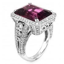 18K White Gold Rubelite Stone Diamond Ring