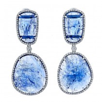 18K White Gold Tanzanite Slice Earrings