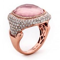 18K Rose Gold Rose Quartz Ring