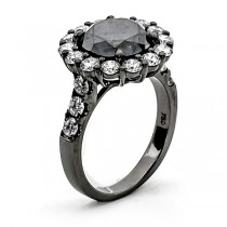 18K Black Rhodium Black Diamond Ring