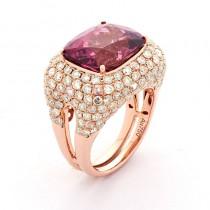 18K Rose Gold Pink Tourmaline Ring