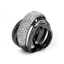 18K Black Rhodium White Diamond Band Ring