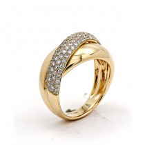 18K Yellow Gold White Diamond Band
