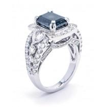 18K White Gold Black Diamond Ring
