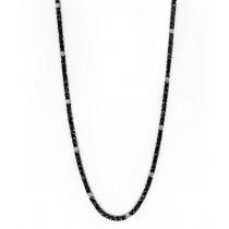 "18K White Gold 22"" Black Diamond Necklace"