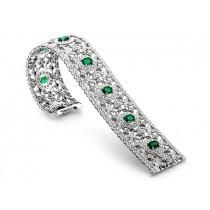 18K White Gold Emerald Diamond Bracelet