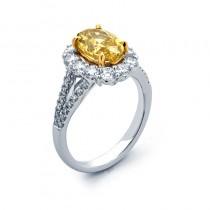 18K White Gold Fancy Yellow Diamond Ring